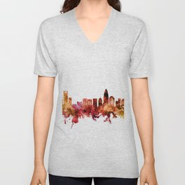 Charlotte North Carolina Skyline Unisex V-Neck