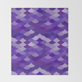 Ultra Violet wave, abstract simple background with japanese seigaiha circle pattern Throw Blanket