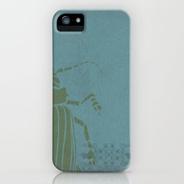 Insectology:  Beetle Botanical Stencil Print iPhone Case