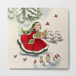 Vintage Christmas Girl Metal Print