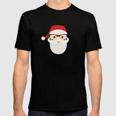Hipster Santa Claus Mens Fitted Tee Black MEDIUM