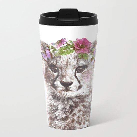 Cheetah with flowers Metal Travel Mug