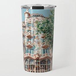 Casa Batllo, Antoni Gaudi Architecture, Barcelona Landmark, Urban Details, Downtown City, House Facade Travel Mug