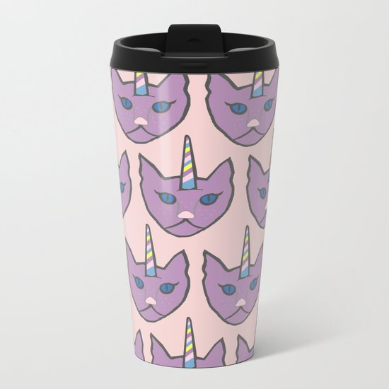 unicat - pink Metal Travel Mug
