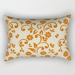"""Orange Flowers & Natural Texture"" Rectangular Pillow"