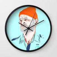zissou Wall Clocks featuring Doc Zissou by The Art Warriors