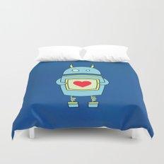 Blue Cartoon Robot With Heart Duvet Cover