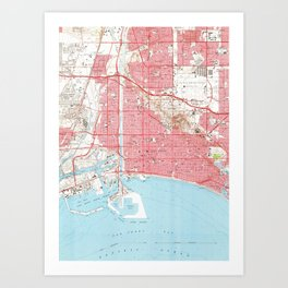 Vintage Map of Long Beach California (1964) 4 Art Print