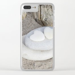 Stone Hearts At The Beach Clear iPhone Case