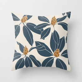 Rhododendrons before the bloom, Navy Leaves Throw Pillow