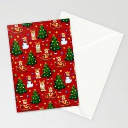 Merry Corgmess- Corgi Celebrate Christmas- Xmas Red Stationery Cards