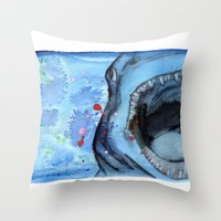 shark Throw Pillows featuring Shark by Leonie O'Moore