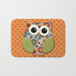 Colorful Floral Owl on Orange Bath Mat