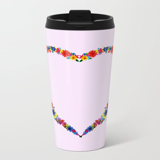 heart made of flowers on a pink background Metal Travel Mug