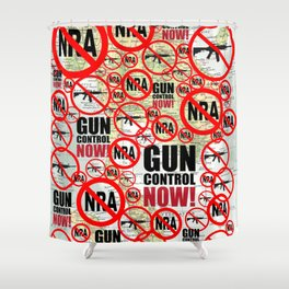 No Guns, Gun Control Now on Map Shower Curtain