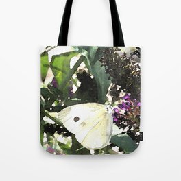 Cabbage White Butterfly Digital Manipulation Tote Bag