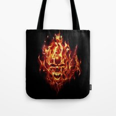 Flaming Skull Tote Bag