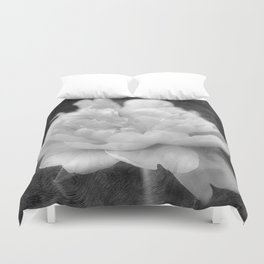 Peony in Black and White Duvet Cover