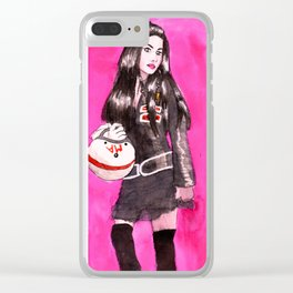 lady on the road Clear iPhone Case