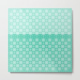 Portuguese Tiles of Lisboa in Green with Glitch Metal Print
