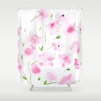 cherry blossom Shower Curtains featuring Cherry Blossom by Tatiana Shaffer