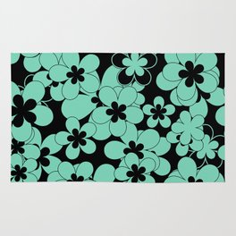 Turquoise , flower Rug