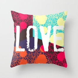 Valentines LOVE funky 1 Throw Pillow