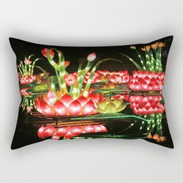 Chinese flower lantern pond at night Rectangular Pillow