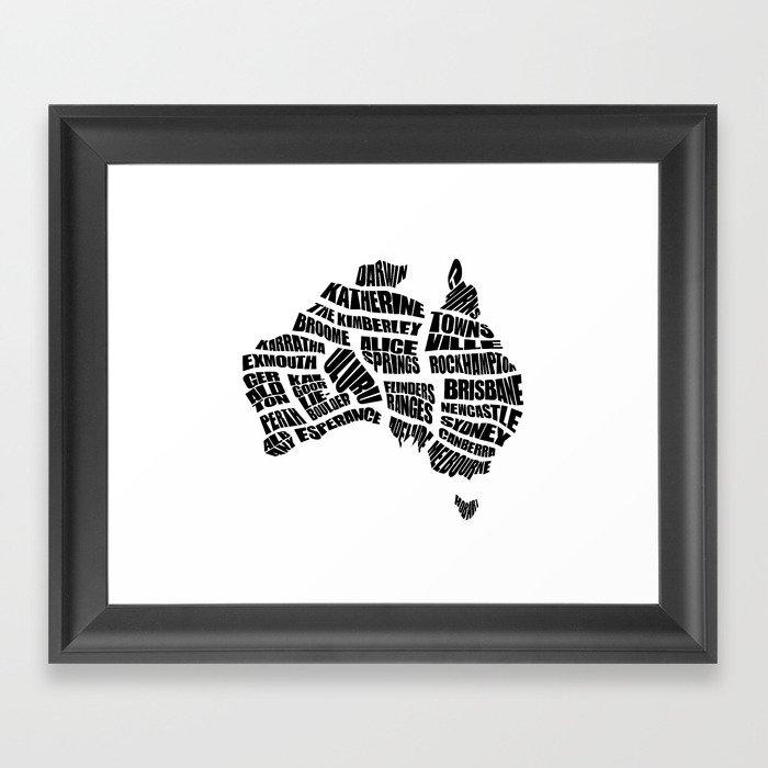 Australia Word Map - Black and White Framed Art Print by ...