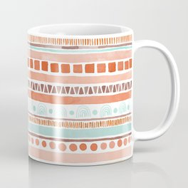Boho Stripes - Watercolour pattern in rusts, turquoise & mustard. Nursery print Coffee Mug