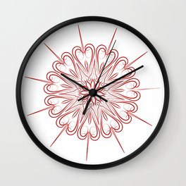 simple red line mandala Wall Clock