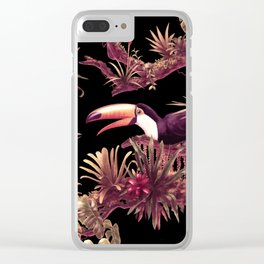 Toucans and Bromeliads - Dark Floral version Clear iPhone Case