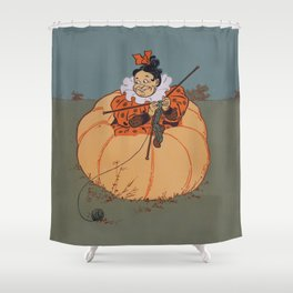 Knitting in a Pumpkin Shower Curtain