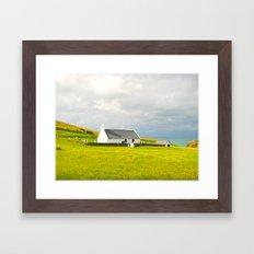 Mwnt Chapel. Cardigan. Embossed. Framed Art Print