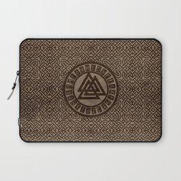 Valknut Symbol and Runes on Celtic Pattern on Wood Laptop Sleeve