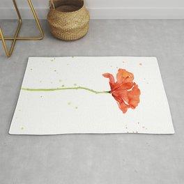 Red Poppy Flower Watercolor Rug