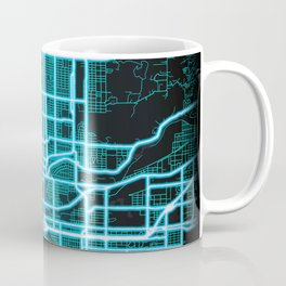 Spokane, WA, USA, Blue, White, Neon, Glow, City, Map Coffee Mug