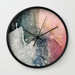 Reckless [6]: a colorful, abstract mixed-media piece in pinks, blues, white and gold Wall Clock