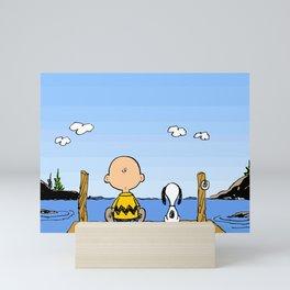 Charlie Brown Snoopy On Dock Mini Art Print