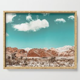 Vintage Red Rocks // Snow in the Mojave Desert Clouds Teal Sky Mountain Range Landscape Serving Tray