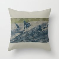 surf Throw Pillows featuring Surf by Last Call