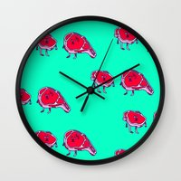 meat Wall Clocks featuring Meat meet Meat by didu didu