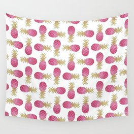 Ombre Pink Illustrated Pineapple Wall Tapestry