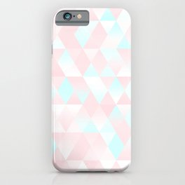 Pastel Millennial Pink Teal Triangle Ombre Geometric Cute Pattern iPhone Case