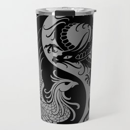 Gray and Black Dragon Phoenix Yin Yang Travel Mug