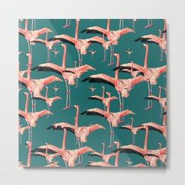 tropical flamingos  Metal Print