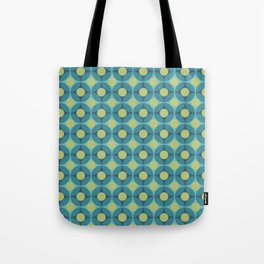 Geometric Circle Pattern Mid Century Modern Retro Blue Green Tote Bag