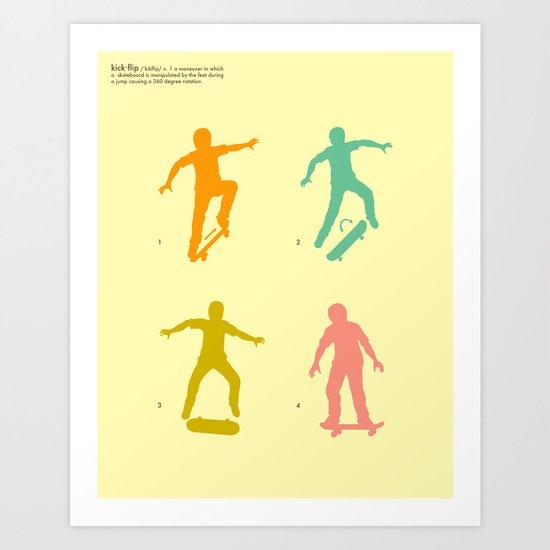 Kickflip (how to) Art Print