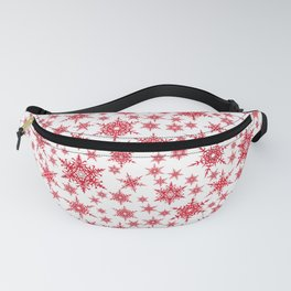 Red snowflakes on white. Fanny Pack