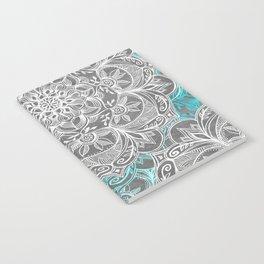 Turquoise & White Mandalas on Grey Notebook